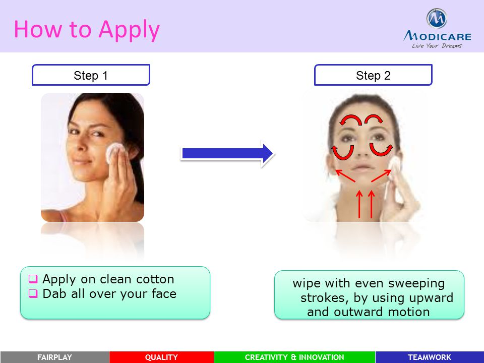 How to Apply Step 1 Step 2 Apply on clean cotton
