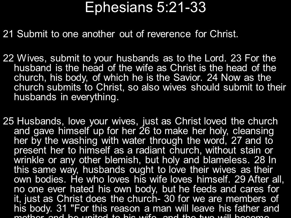 Ephesians 5:21-33 21 Submit to one another out of reverence for Christ.