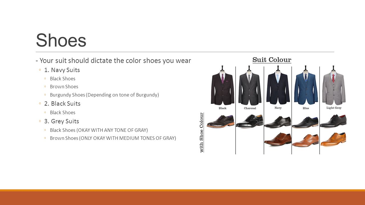 Shoes - Your suit should dictate the color shoes you wear