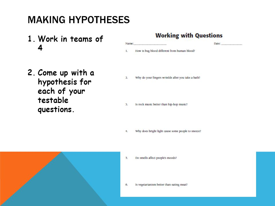 Making hypotheses Work in teams of 4