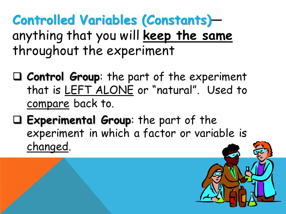 Controlled Variables (Constants)—anything that you will keep the same throughout the experiment