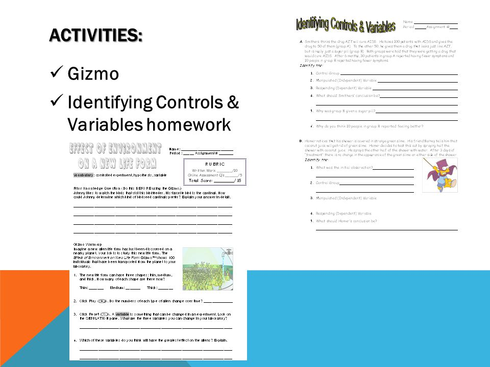 Activities: Gizmo Identifying Controls & Variables homework