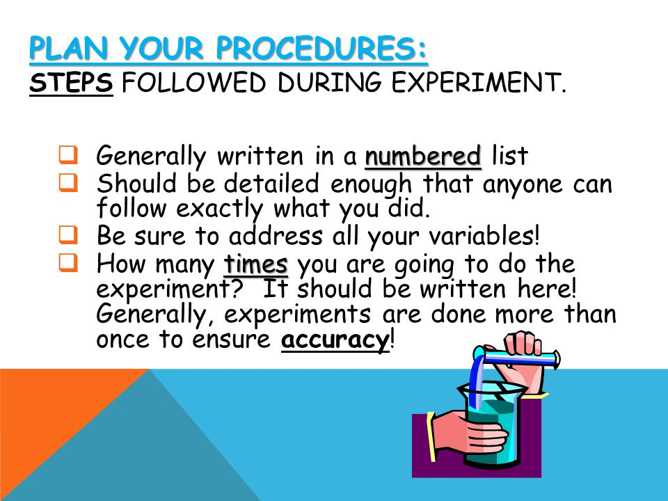 Plan your Procedures: Steps followed during experiment.