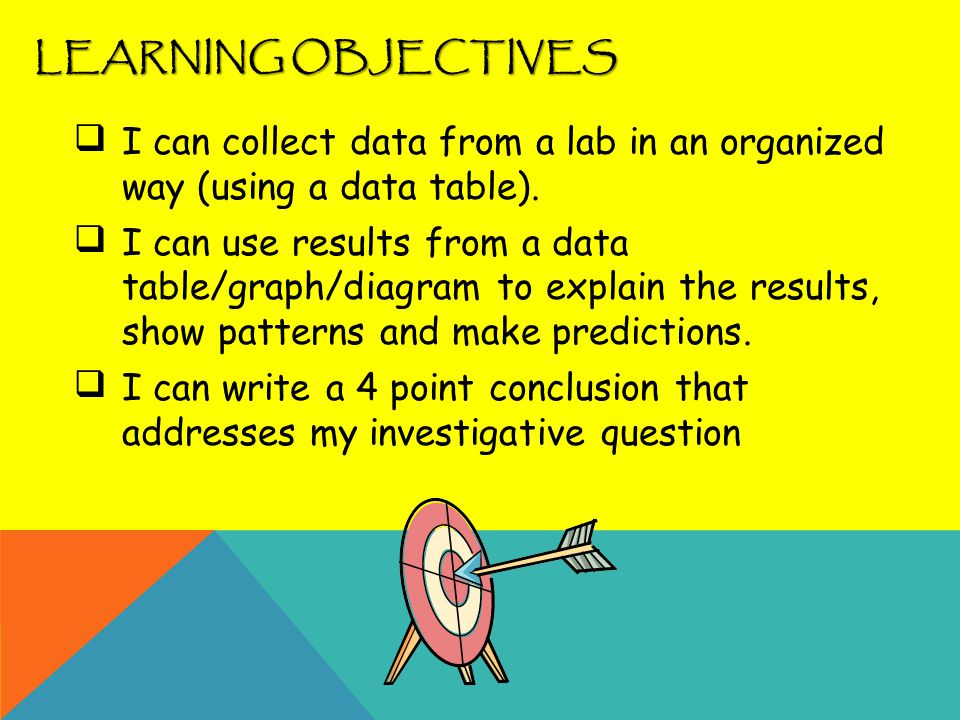 LEARNING OBJECTIVES I can collect data from a lab in an organized way (using a data table).