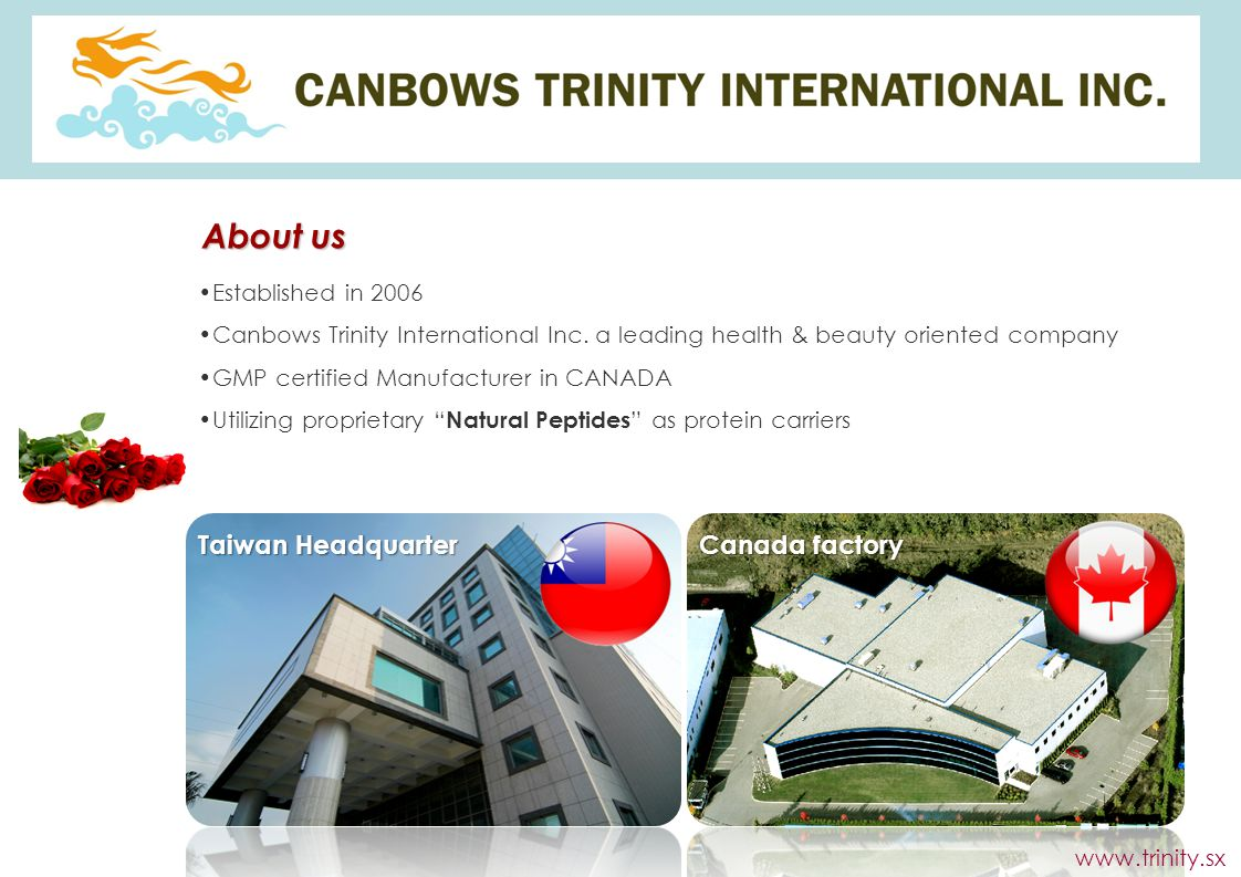 About us Taiwan Headquarter Canada factory Established in 2006