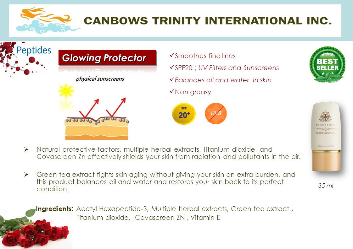 Glowing Protector Smoothes fine lines. SPF20 ; UV Filters and Sunscreens. Balances oil and water in skin.
