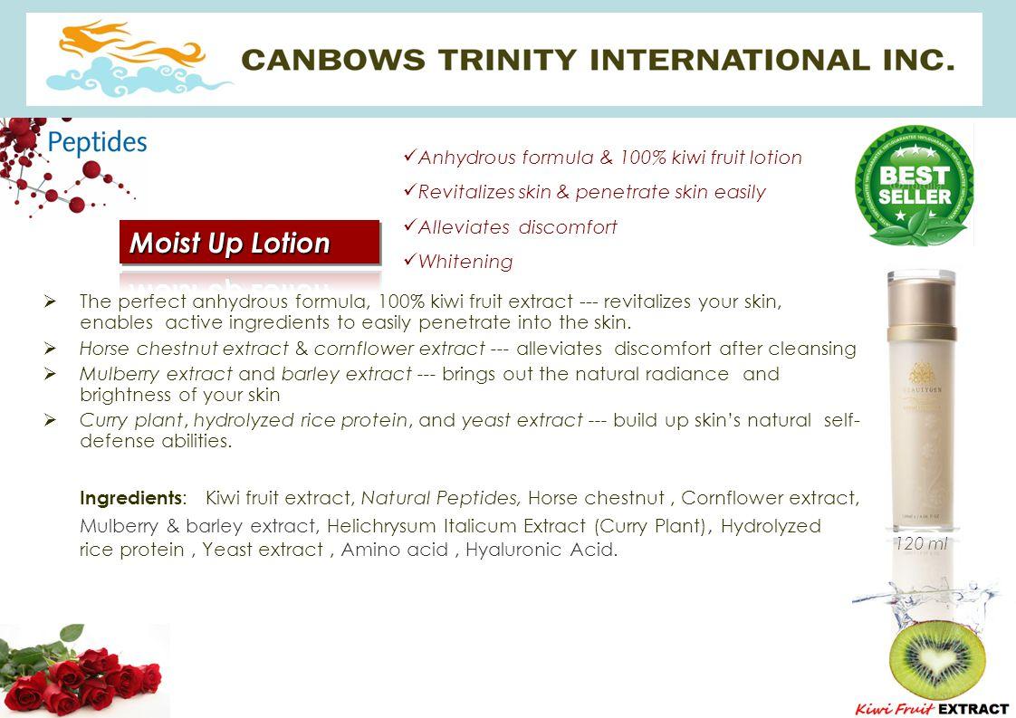 Anhydrous formula & 100% kiwi fruit lotion