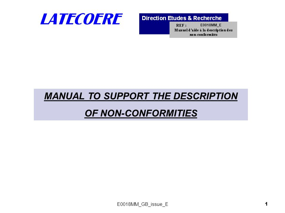 MANUAL TO SUPPORT THE DESCRIPTION