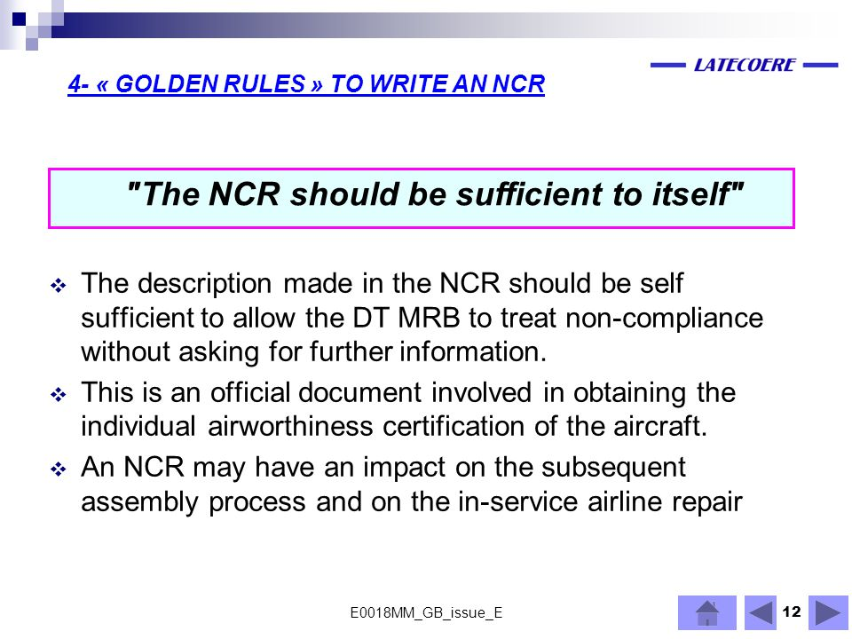 4- « GOLDEN RULES » TO WRITE AN NCR