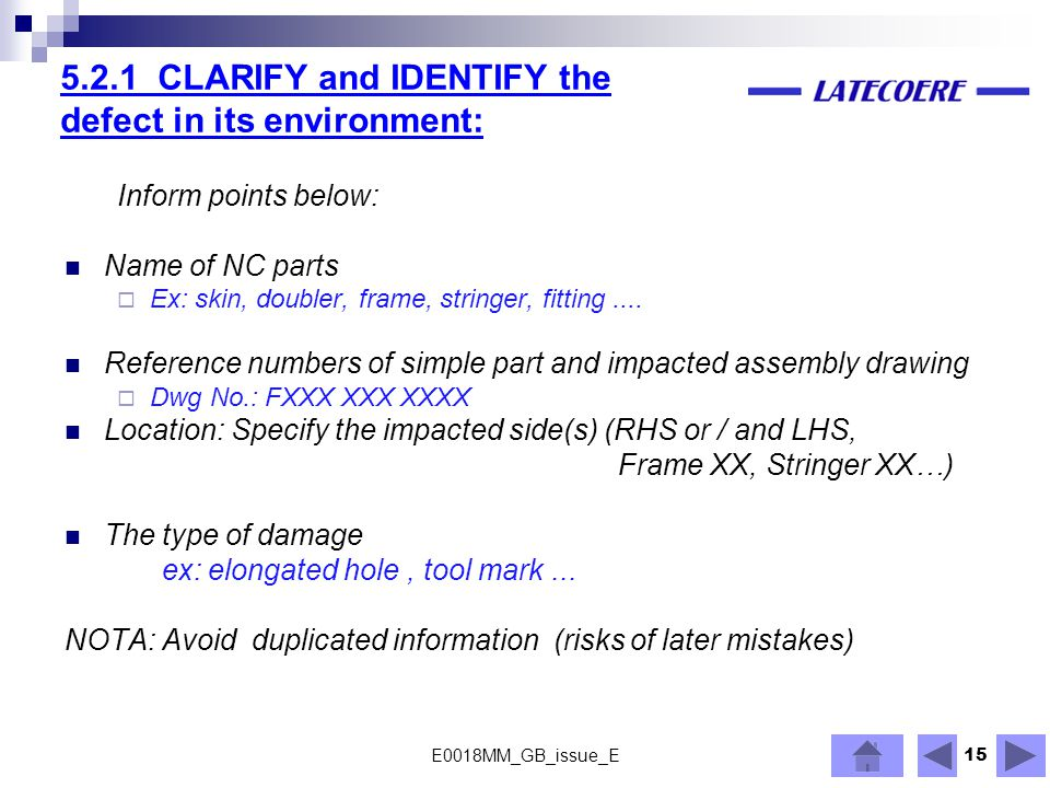 5.2.1 CLARIFY and IDENTIFY the defect in its environment:
