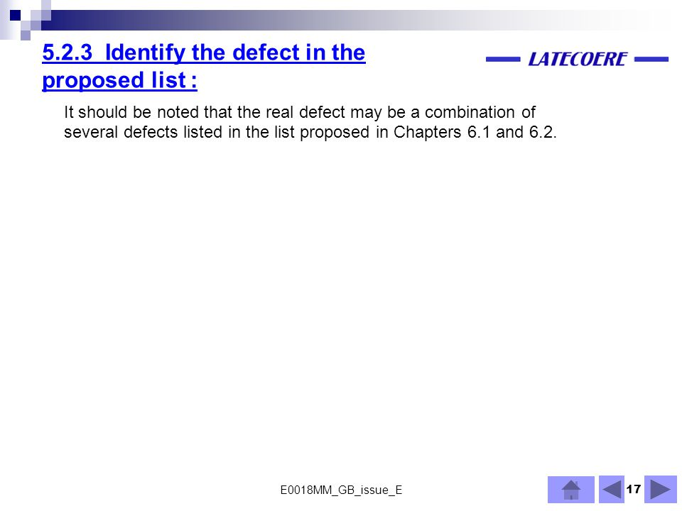 5.2.3 Identify the defect in the proposed list :