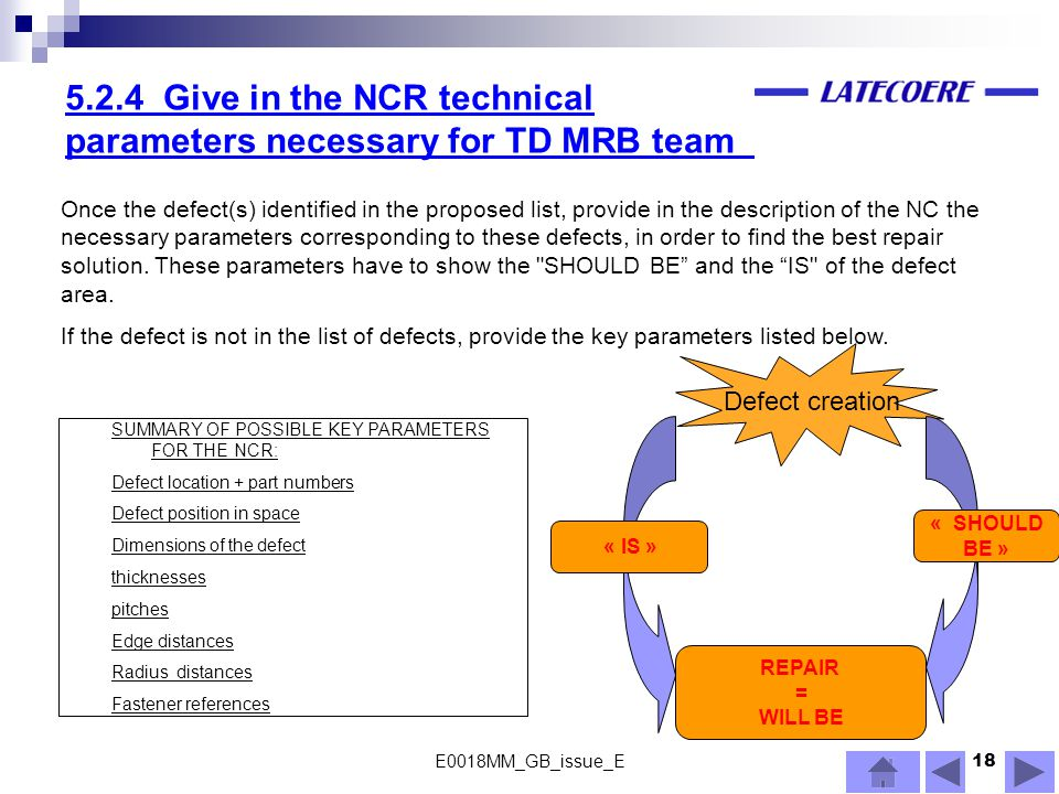 5.2.4 Give in the NCR technical parameters necessary for TD MRB team