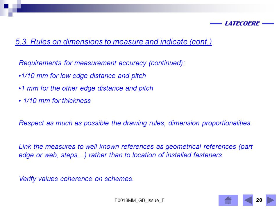 5.3. Rules on dimensions to measure and indicate (cont.)