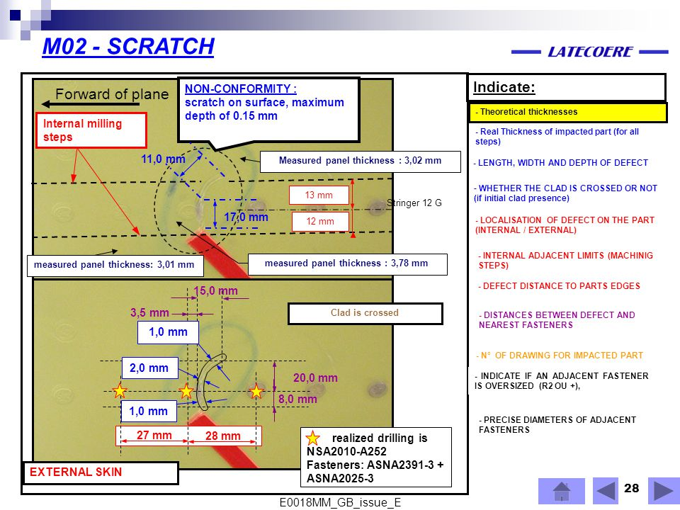 M02 - SCRATCH Indicate: Forward of plane NON-CONFORMITY :