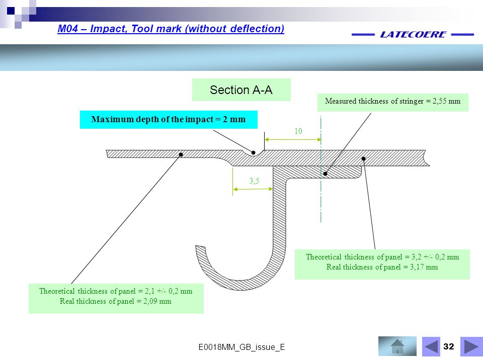 Section A-A M04 – Impact, Tool mark (without deflection)