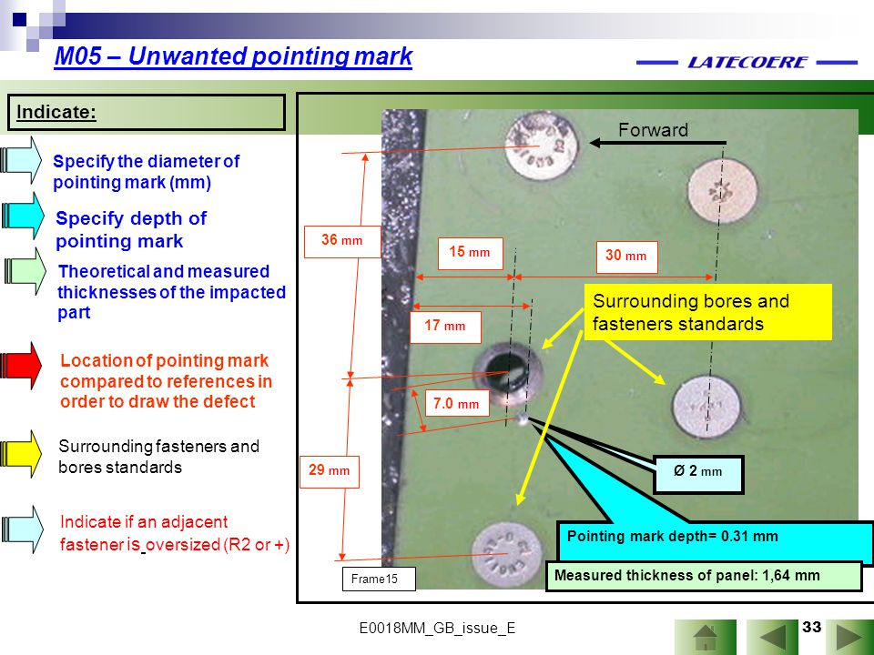 M05 – Unwanted pointing mark