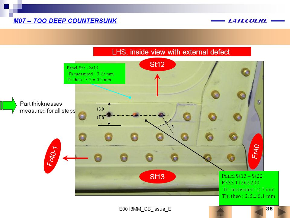 LHS, inside view with external defect