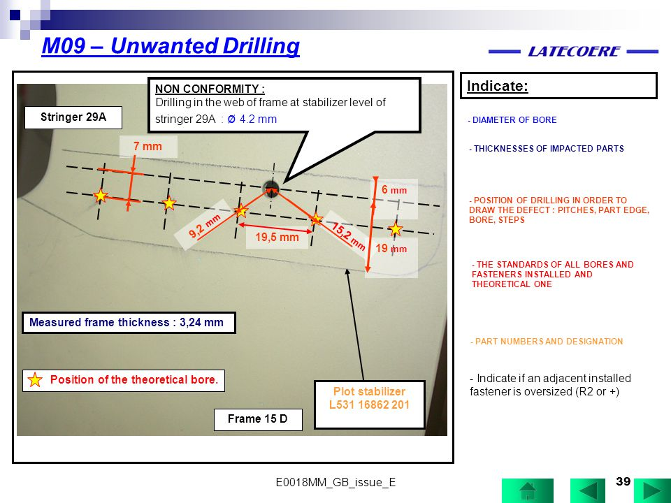 M09 – Unwanted Drilling Indicate: NON CONFORMITY :