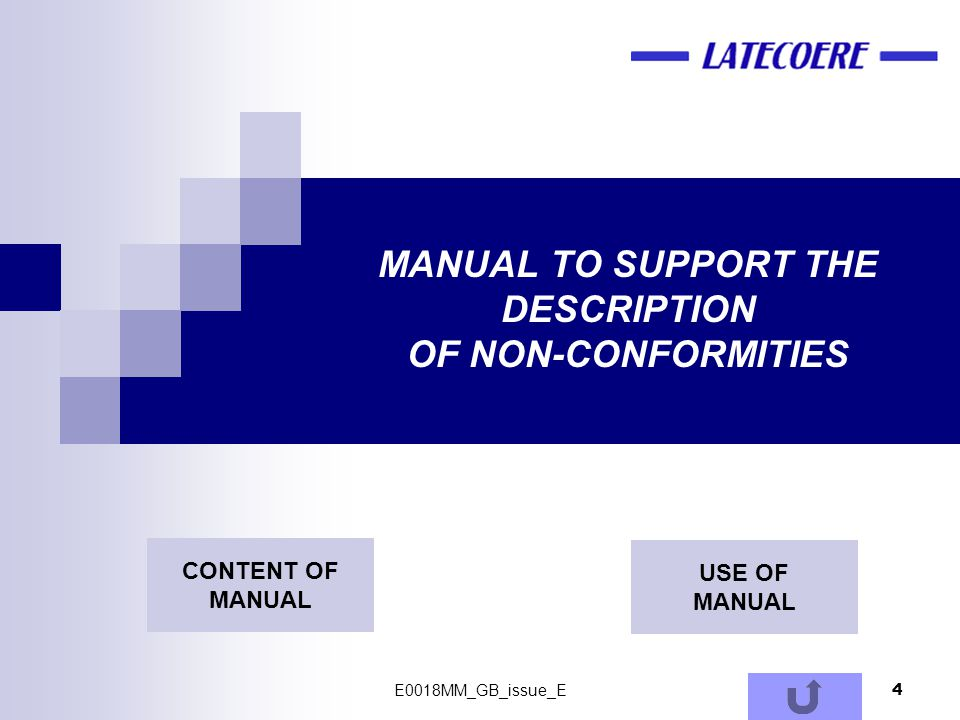 MANUAL TO SUPPORT THE DESCRIPTION OF NON-CONFORMITIES