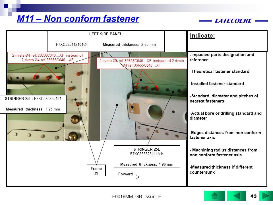 M11 – Non conform fastener