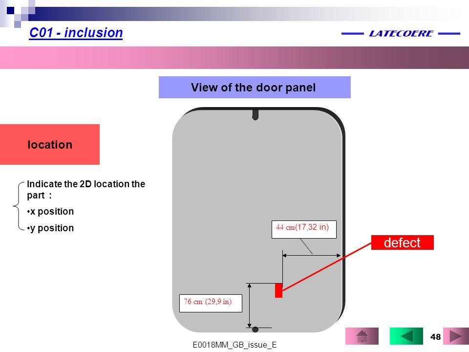 C01 - inclusion defect View of the door panel location