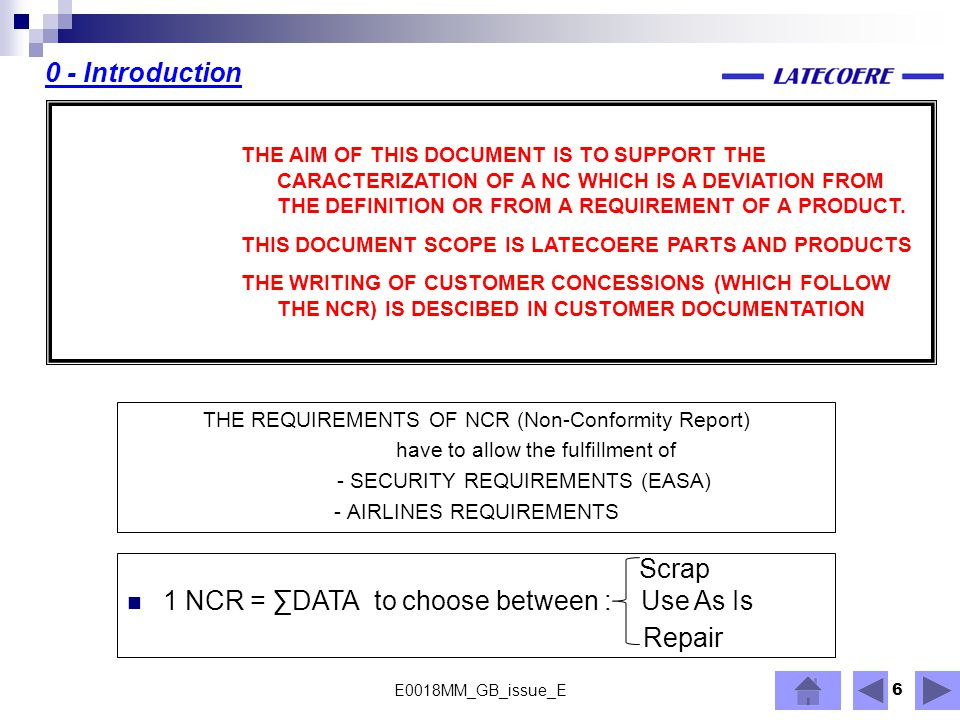Repair 0 - Introduction 1 NCR = ∑DATA to choose between : Use As Is
