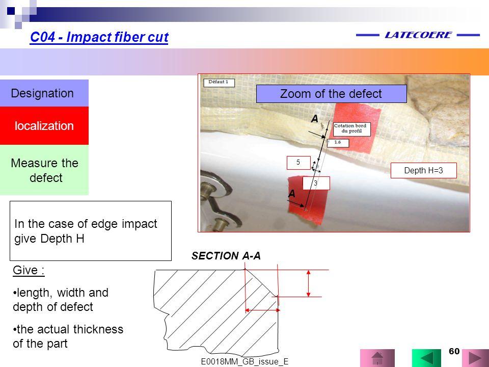 C04 - Impact fiber cut Designation Zoom of the defect localization
