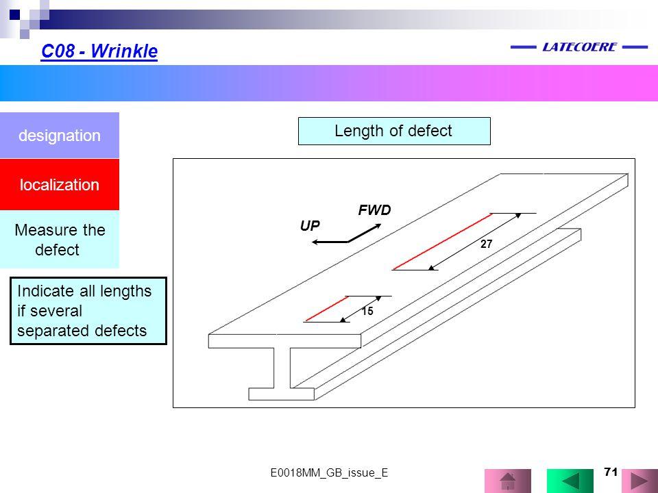 C08 - Wrinkle designation Length of defect localization Measure the