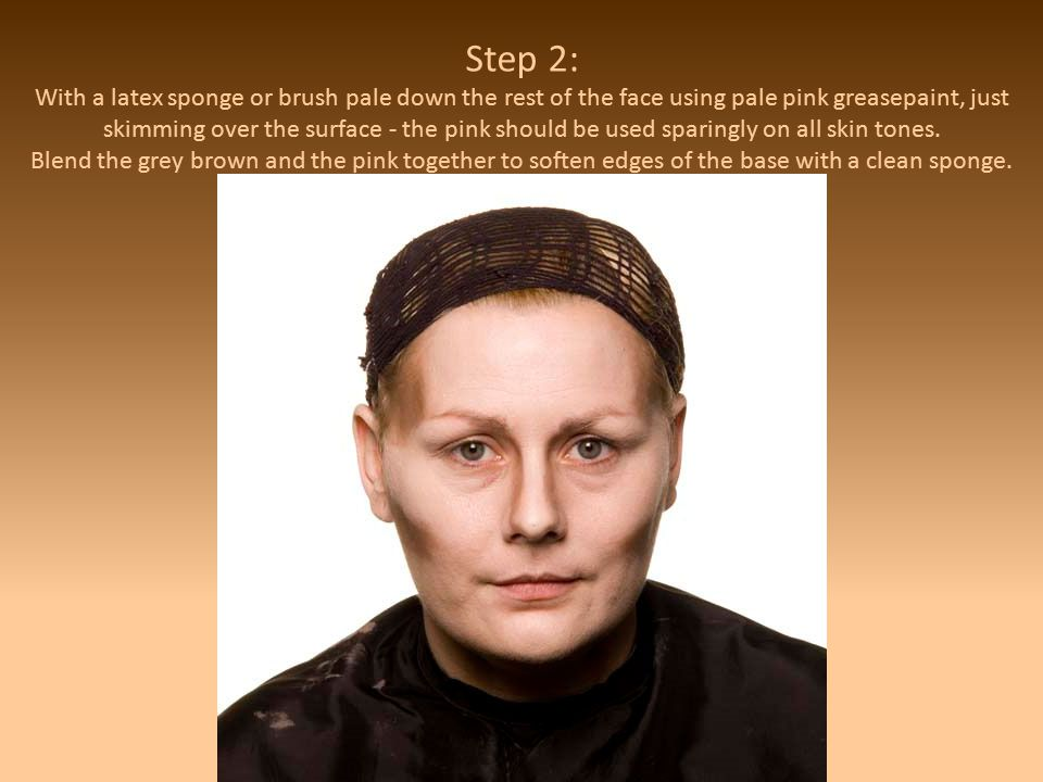 Step 2: With a latex sponge or brush pale down the rest of the face using pale pink greasepaint, just skimming over the surface - the pink should be used sparingly on all skin tones.