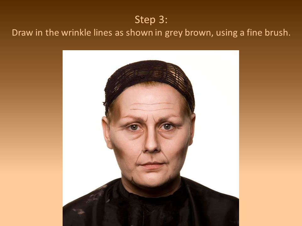 Step 3: Draw in the wrinkle lines as shown in grey brown, using a fine brush.