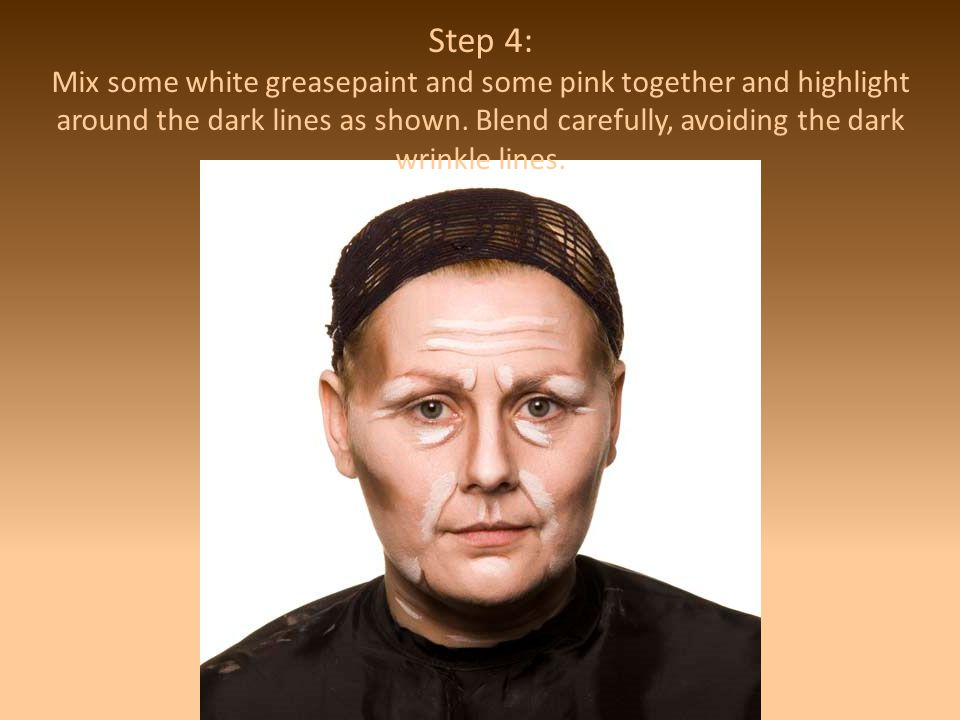 Step 4: Mix some white greasepaint and some pink together and highlight around the dark lines as shown.