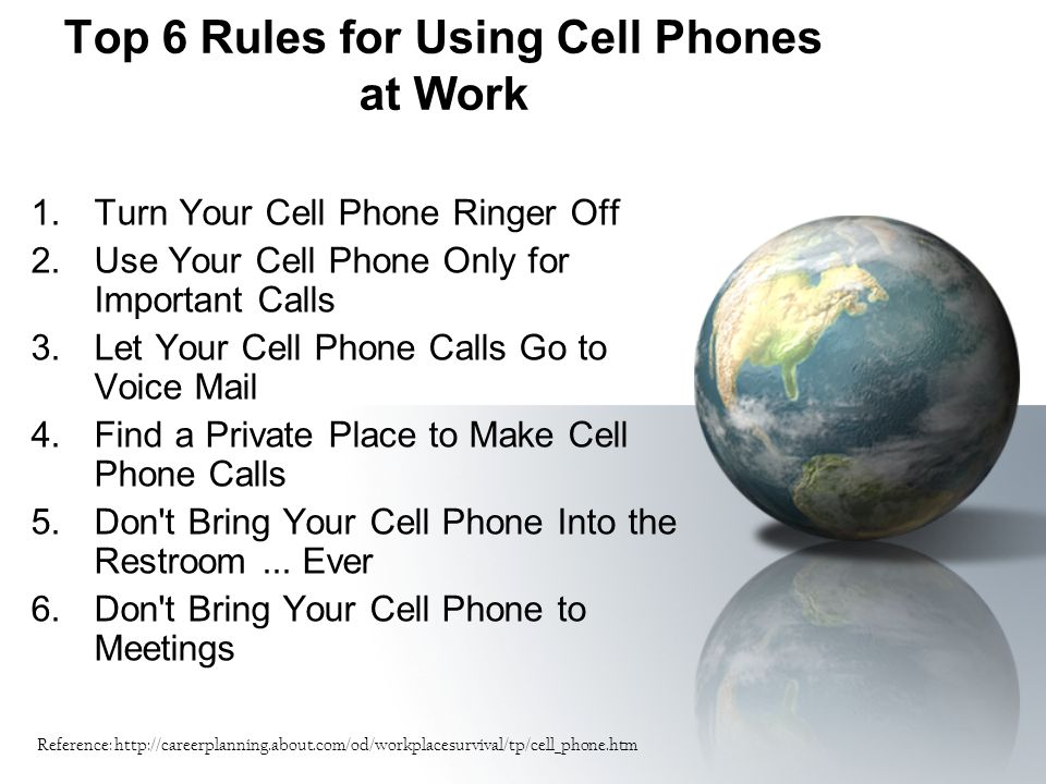 Top 6 Rules for Using Cell Phones at Work