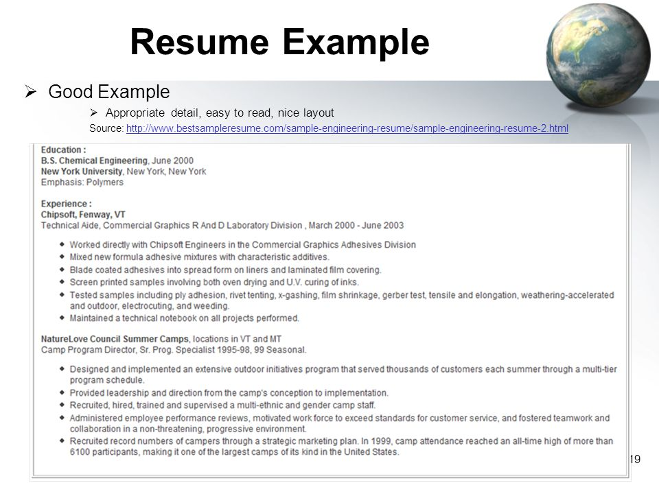 Resume Example Good Example