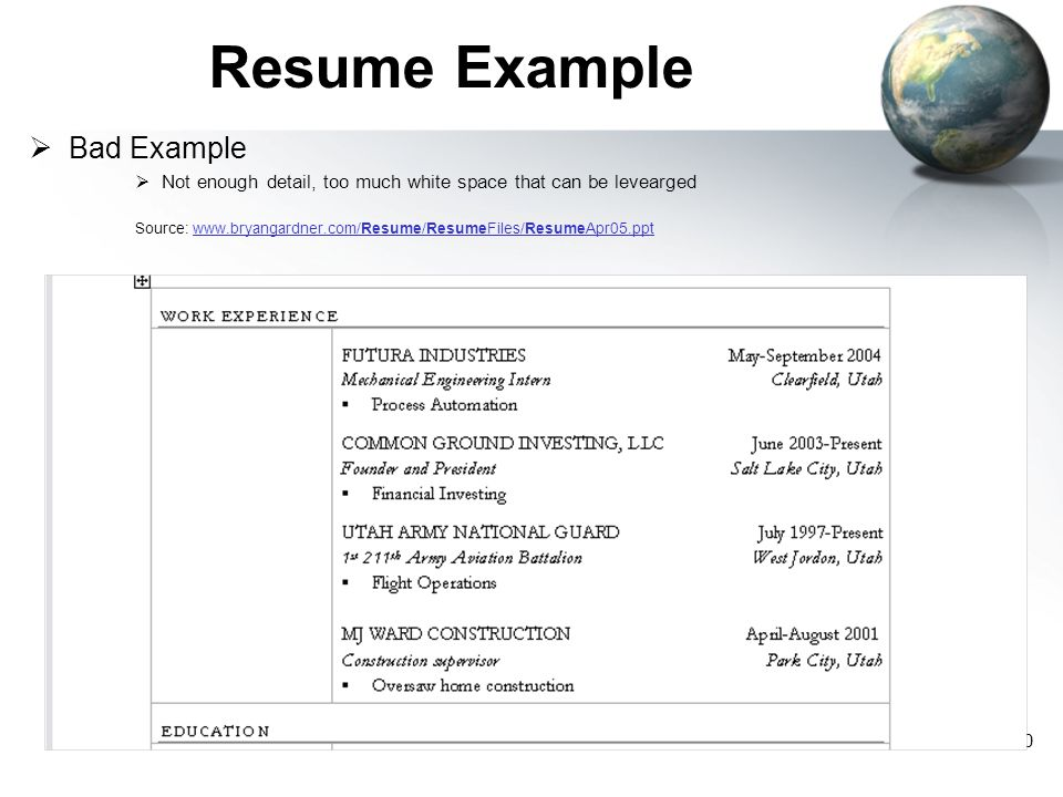 Resume Example Bad Example