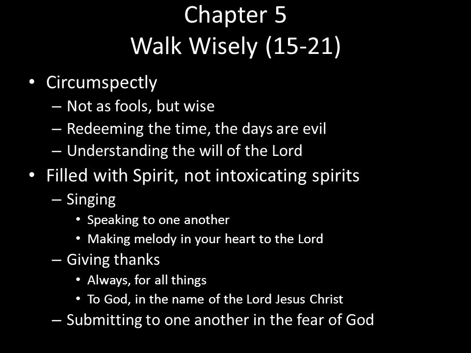 Chapter 5 Walk Wisely (15-21)