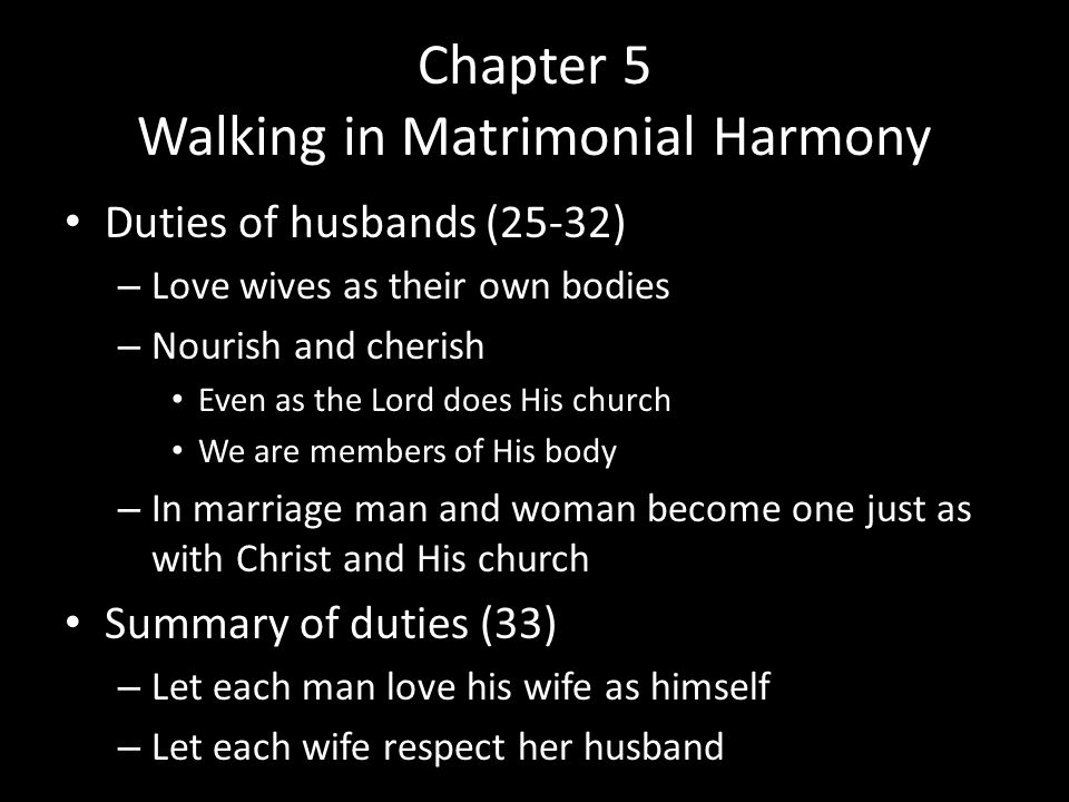 Chapter 5 Walking in Matrimonial Harmony