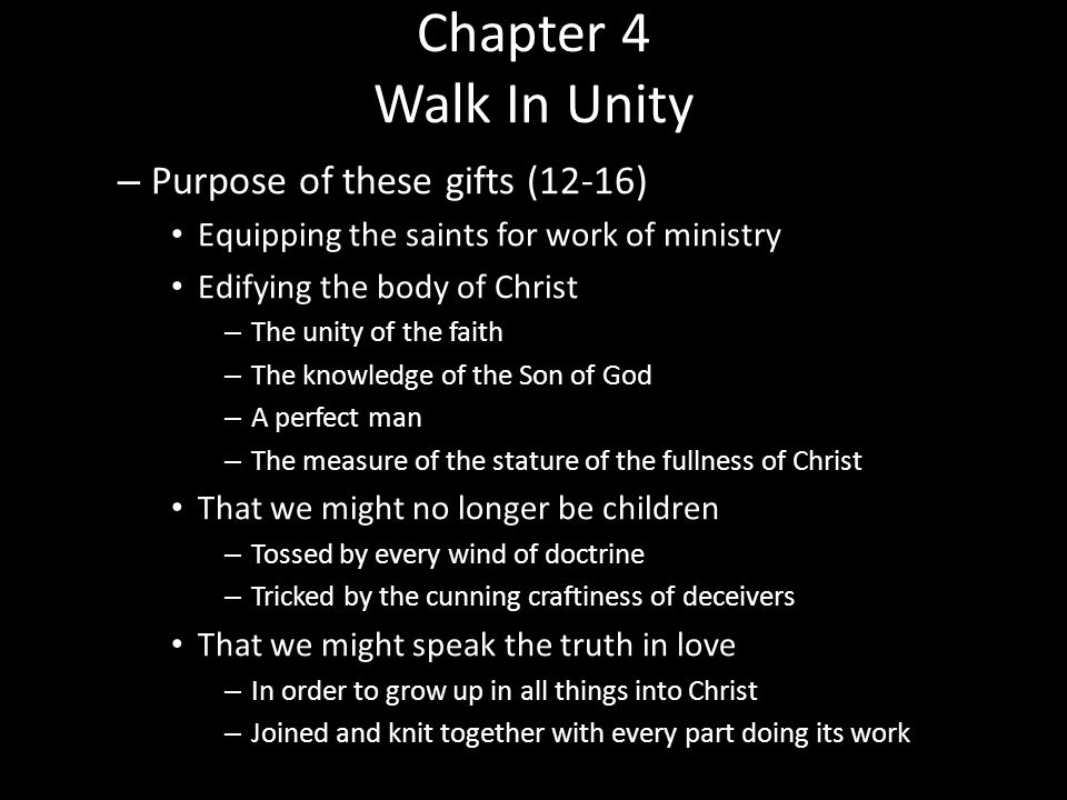Chapter 4 Walk In Unity Purpose of these gifts (12-16)