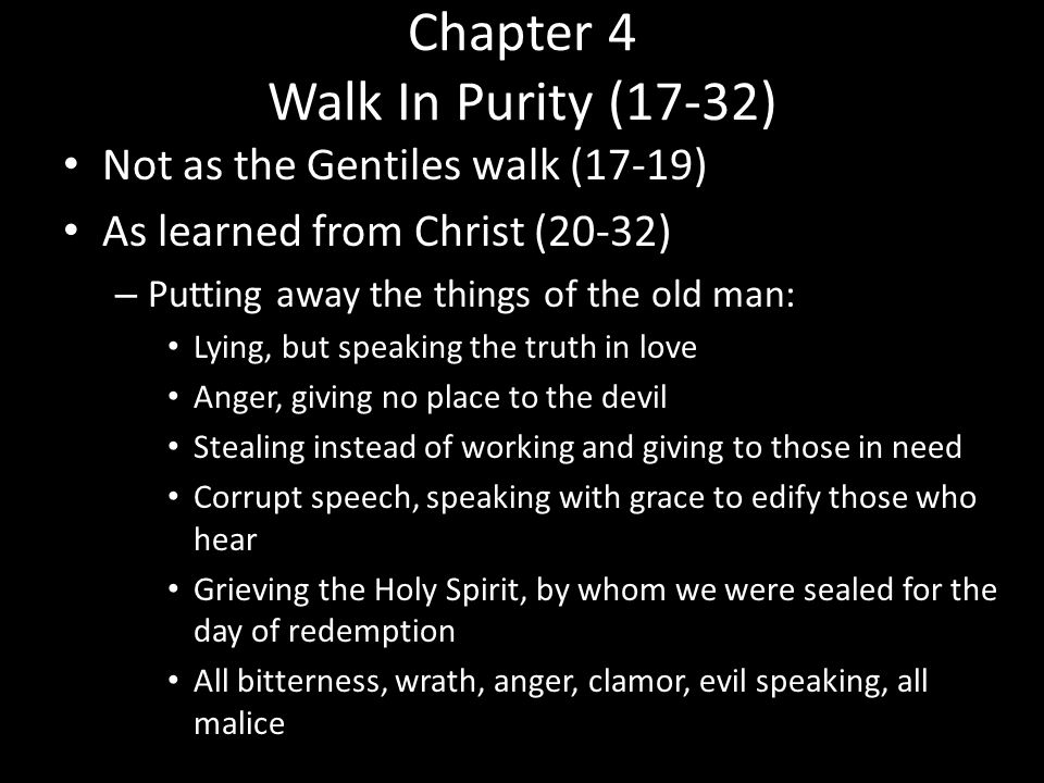Chapter 4 Walk In Purity (17-32)