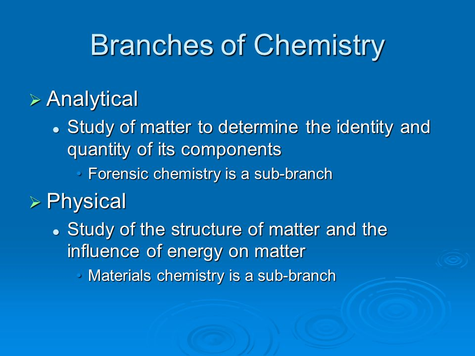 Branches of Chemistry Analytical Physical