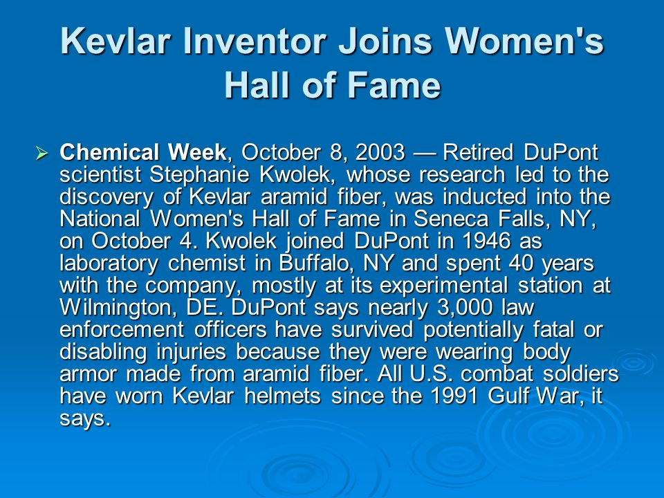 Kevlar Inventor Joins Women s Hall of Fame