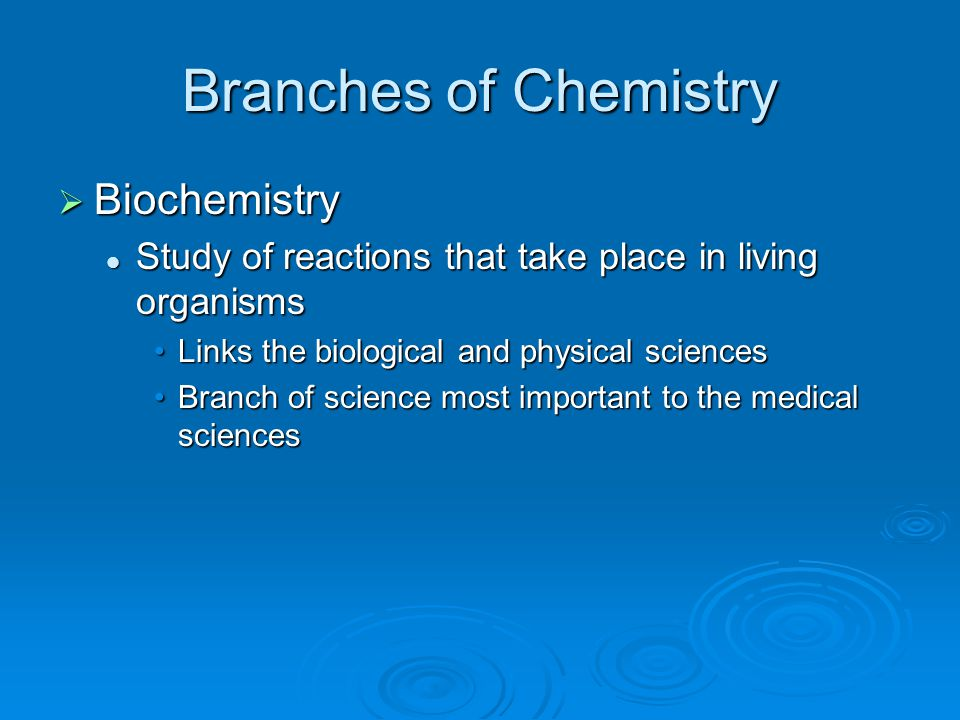 Branches of Chemistry Biochemistry