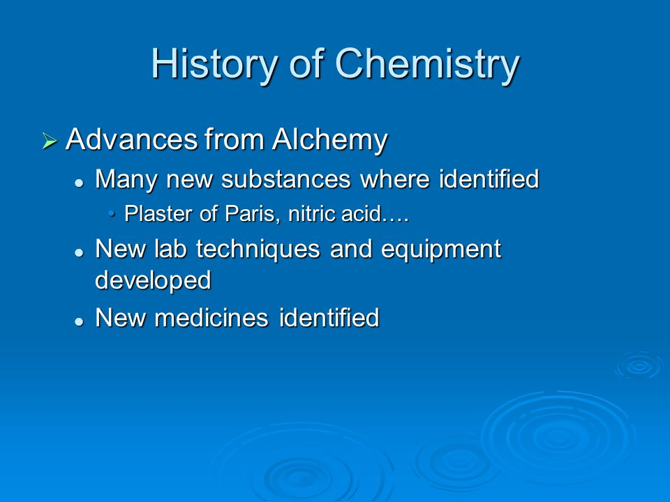 History of Chemistry Advances from Alchemy