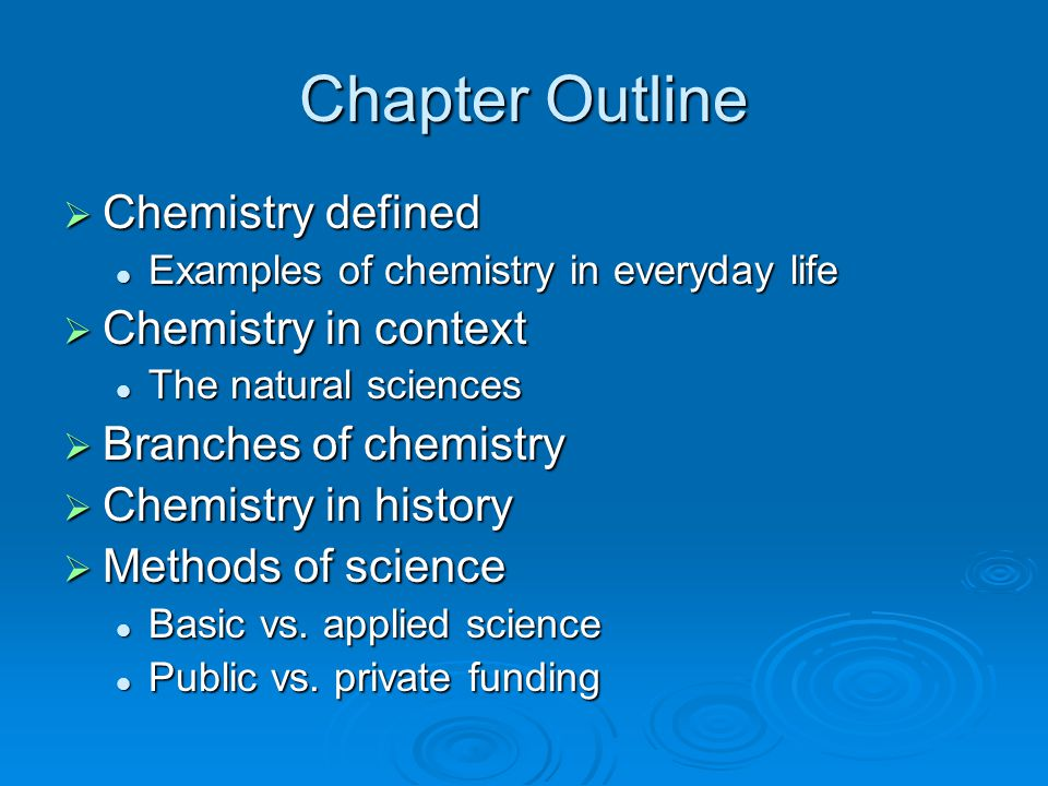 Chapter Outline Chemistry defined Chemistry in context