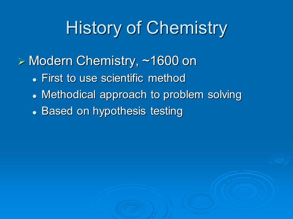 History of Chemistry Modern Chemistry, ~1600 on