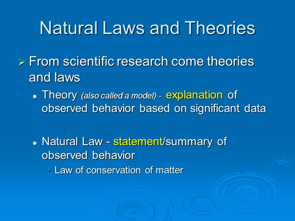 Natural Laws and Theories