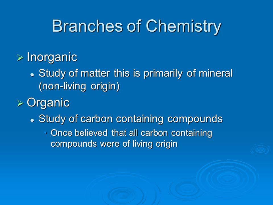 Branches of Chemistry Inorganic Organic