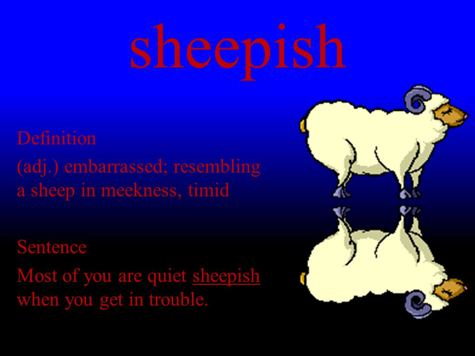 sheepish Definition (adj.) embarrassed; resembling a sheep in meekness, timid Sentence Most of you are quiet sheepish when you get in trouble.