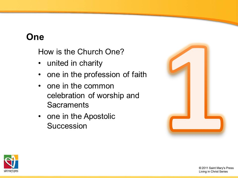 1 One How is the Church One united in charity