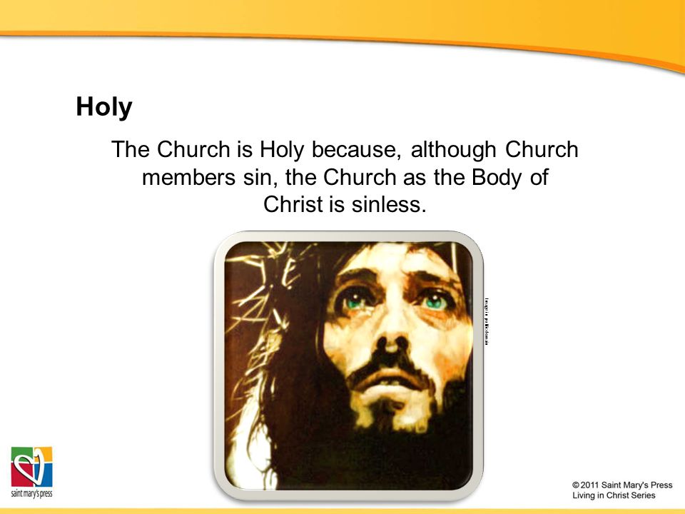 Holy The Church is Holy because, although Church members sin, the Church as the Body of Christ is sinless.