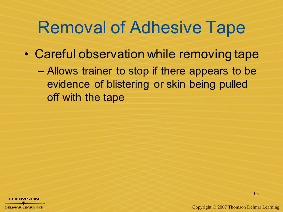 Removal of Adhesive Tape